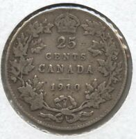 Canada 1910 Silver Coin 25 Cents - King George VII - BC407