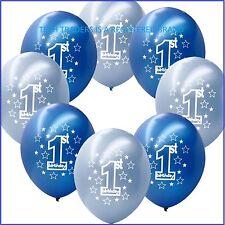 10 Blue Boy's 1st Birthday Printed Pearlised Balloons