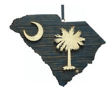 South Carolina Palmetto & Moon Wood State Map Christmas Ornament