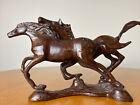 "Vintage Angular Bronze Cast Iron Horses Running 10.5"" X 5.5"""