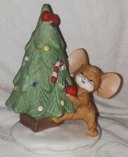 "Homco 8905 Mouse Decorating Christmas Tree Figurine - 4"" Tall"
