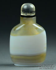 Chinese Natural Banded Agate Snuff Bottle, Tan & White, Late 19th Century