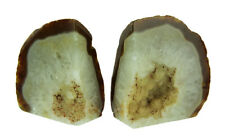 Zeckos Small Polished Light Natural Brazilian Agate Geode Bookends <4 Pounds