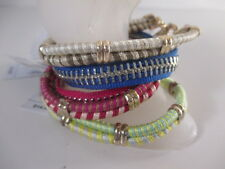Gap Bracelets LOT of 6 PIECES Red Blue GRN Yellow GOLD Friendship Stackable NWT