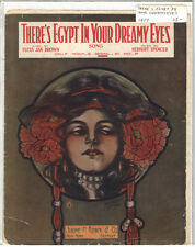 Rare Antique Orig VTG 1917 There's Egypt In Your Dreamy Eyes Sheet Music Print