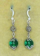 to match old 1930s Bengel necklaces Vintage Art Deco green glass bead earrings