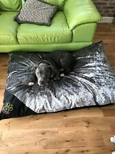 EXTRA-LARGE XL SILVER CRUSHED VELVET BIG DOG PET COMFY BED Zip/Washable