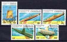 Bateaux Cambodge (17) série complète de 5 timbres oblitérés