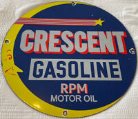 VINTAGE CRESCENT GASOLINE PORCELAIN SIGN MOON GAS  STATION PUMP PLATE MOTOR OIL