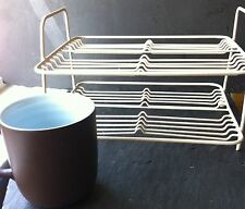 Vintage Small Cream Two Tiered Metal Rubberized Cuboard Rack. or Dish Strainer~
