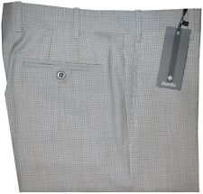 $425 NEW ZANELLA DEVON GREEN WHITE BROWN TATTERSALL 130'S WOOL DRESS PANTS 32