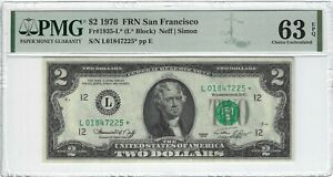 Fr.1935L* 1976 $2 FRN, Neff / Simon  L* Block, PMG 63EPQ
