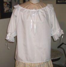 Civil War Dress Blouse~Colonial Lady'S White 100% Cotton Eyelet Trimmed Reg Size