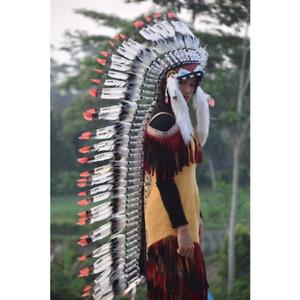 Indian Feather Goose White Red Headdress Costume War Bonnet Monte Long Headdress