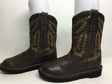 VTG GIRLS OLD WEST COWBOY LEATHER BROWN BOOTS SIZE 4