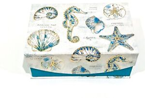 PUNCH STUDIO DECORATIVE GOLD FOIL EMBELLISHED BOX SEASHELLS