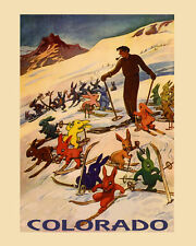Ski Breckenridge Colorado Vintage Poster Skiing Blond Lady Reproduction FREE S//H