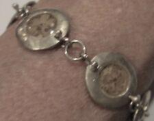 "Sterling Vintage Artisan Bracelet 7.5"" Round Disk Links Tiny Flowers in Lucite"