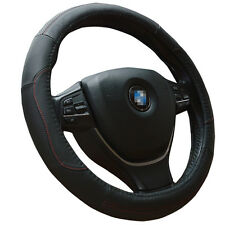 Black Steering Wheel Cover 38cm with Red Stitch for Auto Grip Synthetic Leather