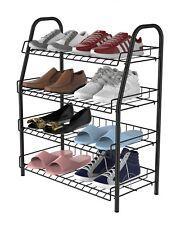 12 Pairs Metal Shoe Rack 4 Tiers White/Black/Gray