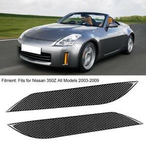 Pair Carbon Fiber Car Headlight Eyebrow Eyelid Trim For Nissan 350Z 2003-2009 TP