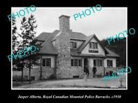 OLD HISTORIC PHOTO OF JASPER, ROYAL CANADIAN MOUNTED POLICE BARRACKS c1930