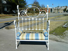 New listing Victorian Iron and Brass Bed Bench Settee circa 1900