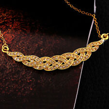18K Yellow Gold Filled Pave CZ Crystal Braid Pendant Wedding Necklace