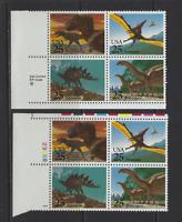 USA SC # 2425A  25 cents Dinosaurs Plate & ZIP Blocks of 4.MNH T-REX FREE SHIP