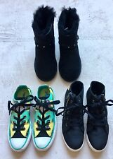 Converse, Trash, Fur Boots, Girls Size 3 1/2 - 4, Green White Black,