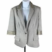 Boston Proper New Gray Jacket Blazer sz XS Silver Embellished Collar Lined