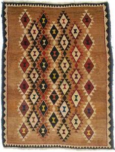 Semi Antique Copper Brown Tribal 4X5 Geometric Gabbeh Oriental Rug Kids Carpet