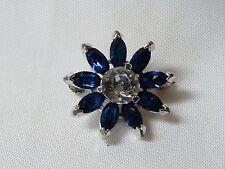 "Kramer of New York Costume Jewelry Sapphire Blue & Rhinestone Scatter Pin 3/4"""