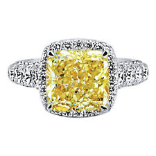 6.21 Carat Fancy Yellow Radiant Cut Diamond 18k Solid White Gold Engagment Ring