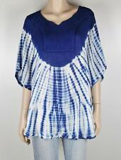 FESTIVAL Tie Dye & Embroidered Kaftan Poncho BLUE Top Sz 8 - 16  NEW #F113