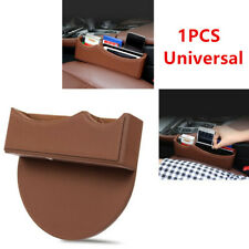Brown Leather Catch Box Car SUV Seat Gap Slit Pocket Storage Case Organizer Bag