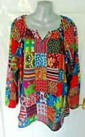 COTTON TRADERS Size 16 Multi Blouse Top Quirky Boho Floral Abstract Hippy
