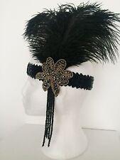 Black & Gold Ostrich Feather Headband 1920s Flapper Headpiece Great Gatsby 1930s