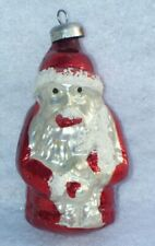 Antique Feather Tree Glitter Frosted Santa Claus Glass Christmas Ornament B3