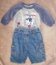 "0-3 month boys 2 piece Faded Glory outfit-""Downhill Ski Shirt"" &  blue jeans"