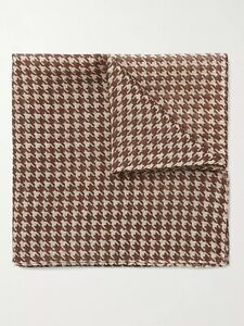ANDERSON & SHEPPARD Houndstooth Wool and Silk-Blend Pocket Square Made In Italy