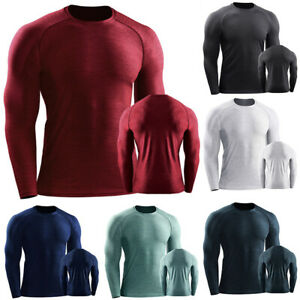 Mens Long Sleeve Compression Thermal Base Layer Shirt Tops Shirts Gym Quick Dry