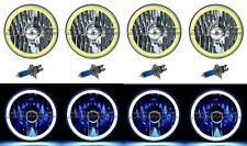 "5-3/4"" White LED COB SMD Halo Angel Eye Halogen Light Bulbs Metal Headlights Set"