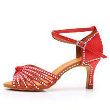 Women's Girl's lady's Rhinestone Ballroom Latin Tango Dance Shoes heeled Salsa
