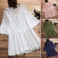 Women's Buttons Down Long Shirt Tops Hollow Crochet Oversize Ethnic Blouse Plus