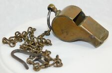 VTG WWI US ARMY MILITARY BRASS WHISTLE WITH CHAIN