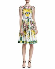 Dolce & Gabbana Floral Vase Cap-Sleeve Fit & Flare Dress 40 IT (6 US)