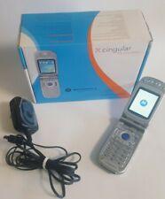 Motorola Mpx220 Smartphone Flip Cell Phone Cingular No Sim Card Silver Has Wear