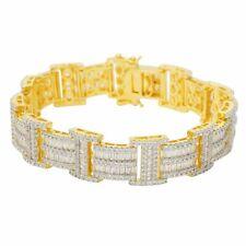 Men's 14K Gold Finish Baguette & Round Link Yellow/White Bracelet