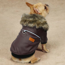 Hundemantel Hundebekleidung Welpe Winter Hundejacke Braun Leder Chihuahua 5Größe